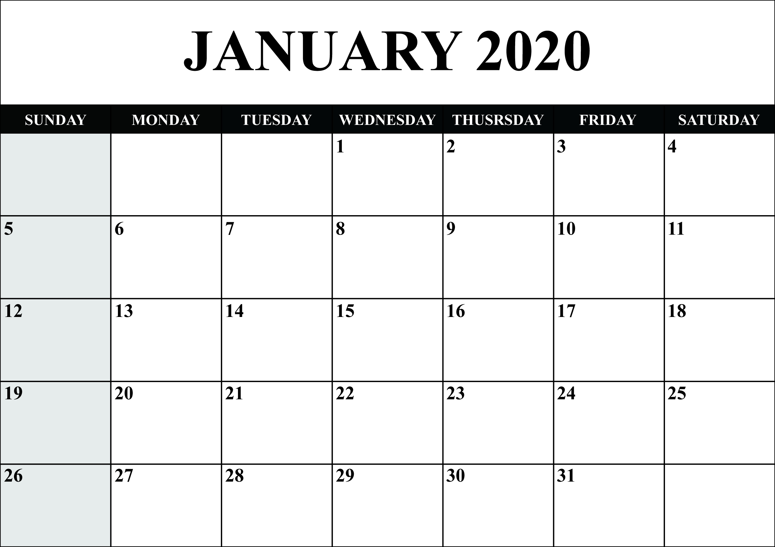 21+Free Blank Calendar January 2020 Printable Fillable Exceptional Microsoft Word Printable Calendar 2020