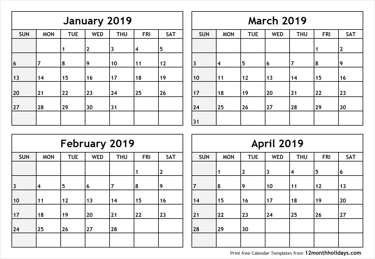 4 Months Calendar 2020 - Colona.rsd7 Blank Calendar 2020 Four Months To Page
