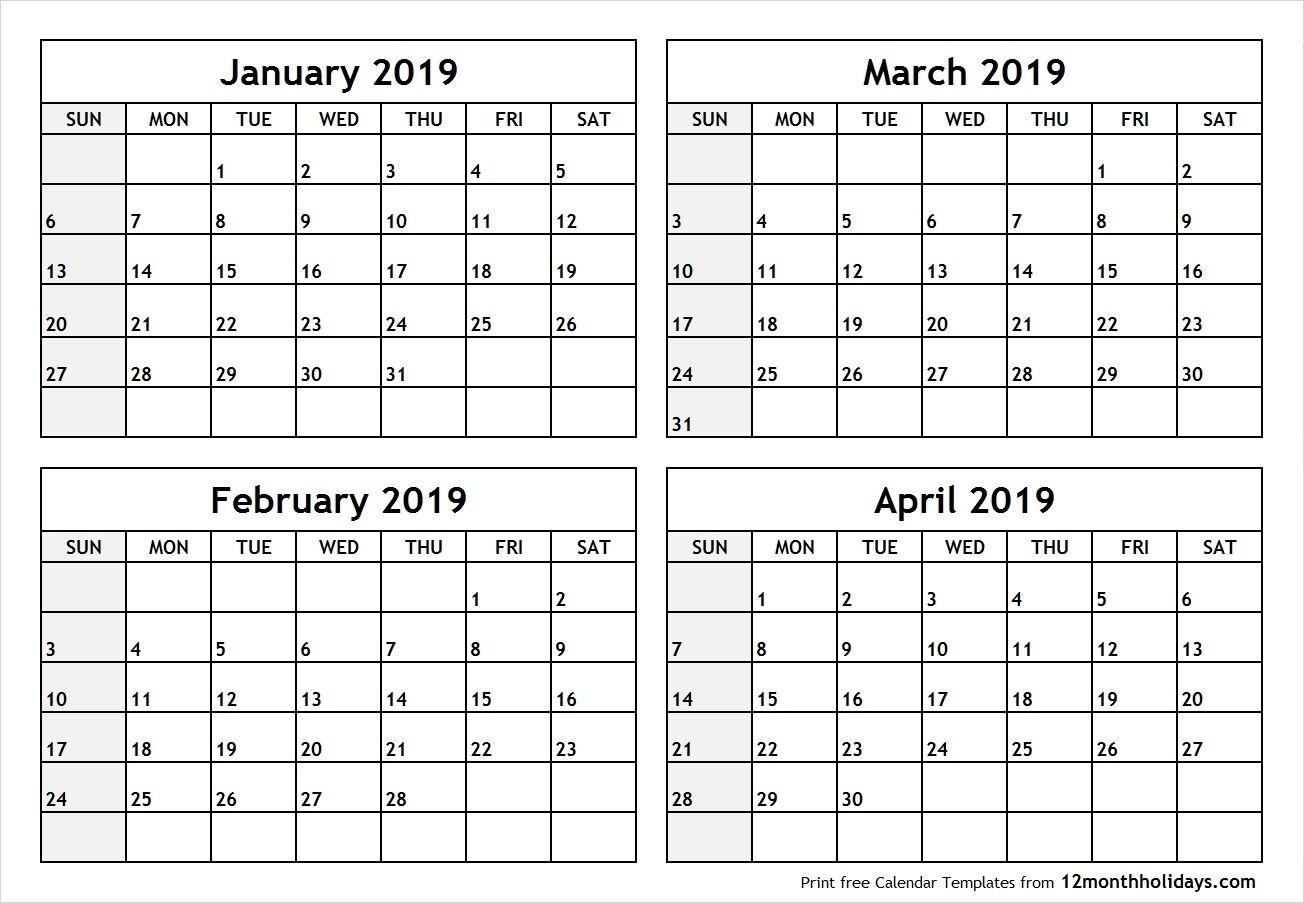 4 Months Calendar 2020 - Colona.rsd7 Blank Calendar 2020 Four Months To Page
