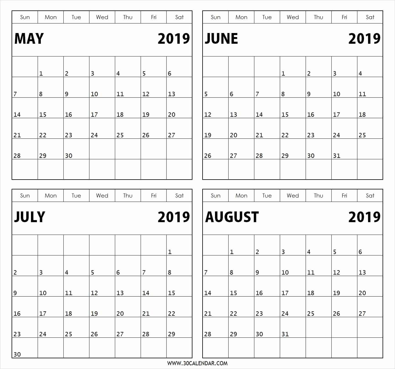 4 Months Per Page Calendar 2020 Printable | Monthly Blank Calendar 2020 Four Months To Page