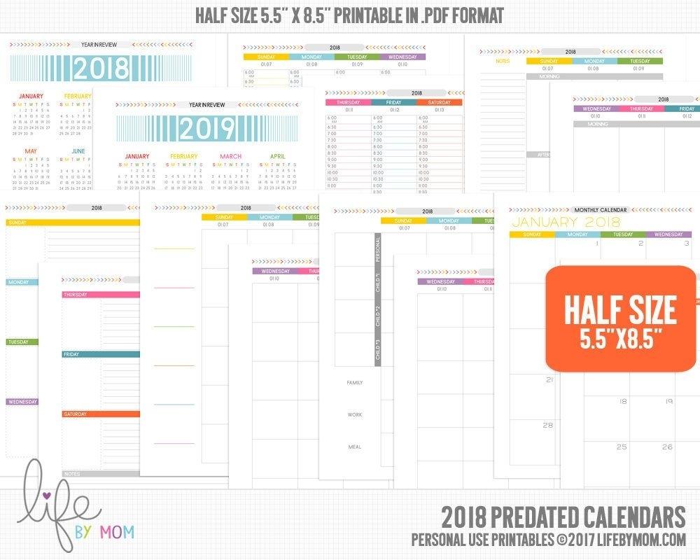 5.5 X 8.5Printable Pdf 2018 Planner Calendars | Arc Notebook Impressive 5.5 X 8.5 Calendar Printable