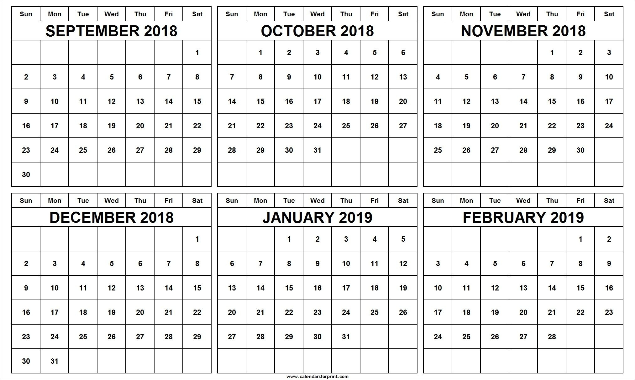 6 Month Calendar September October November December 2018 6 Month Fill In Calendar On One Page