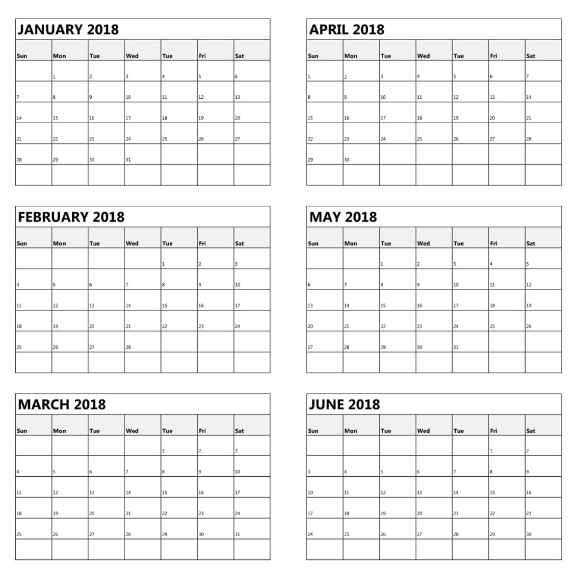 6 Month One Page Calendar 2018   Latest Calendar-6 Month 6 M Onth Calendar On One Page