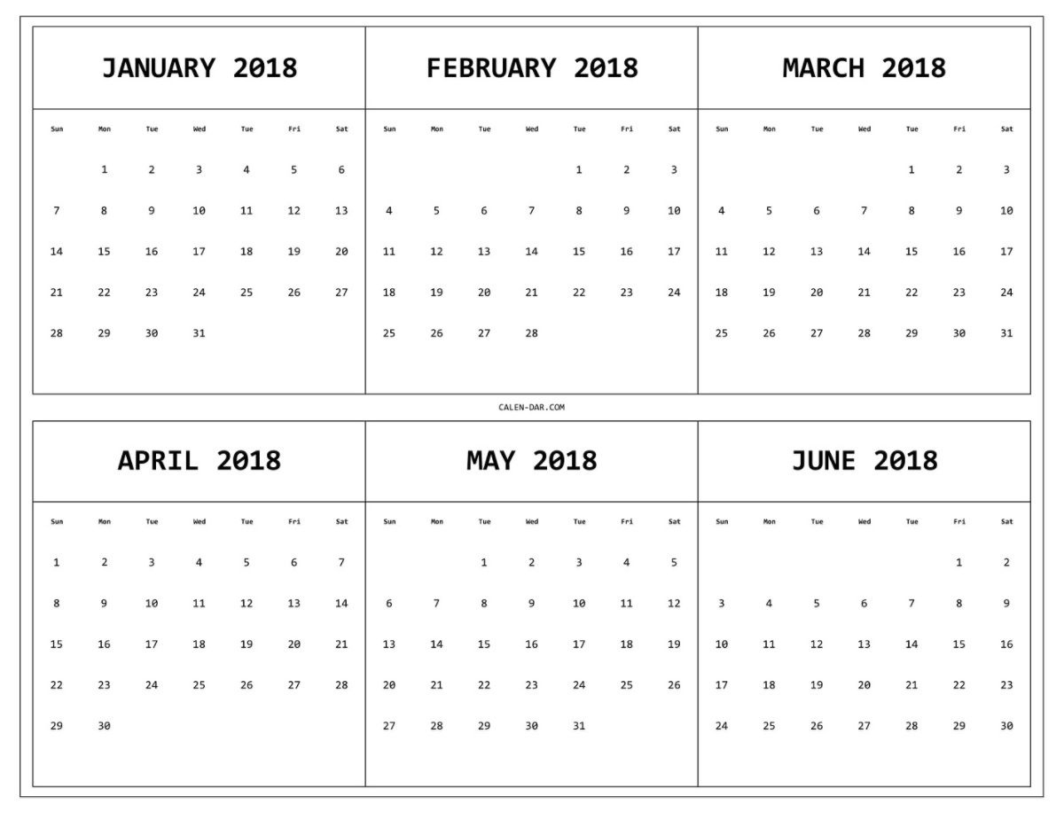 6 Month One Page Printable Calendar 2018 | Printable 6 Month Fill In Calendar On One Page