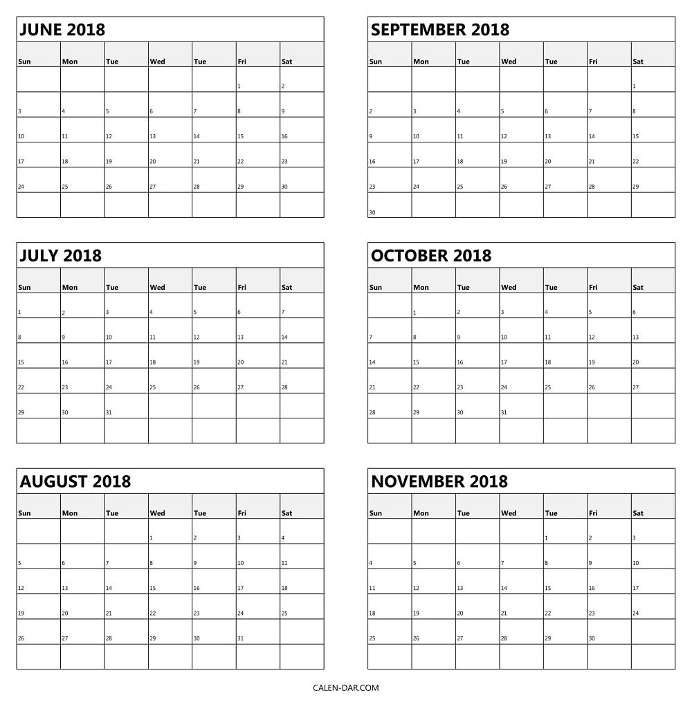 6 Monthly Calendar 2018 June To November Template | Calendar Calenders With 6 Months Showing