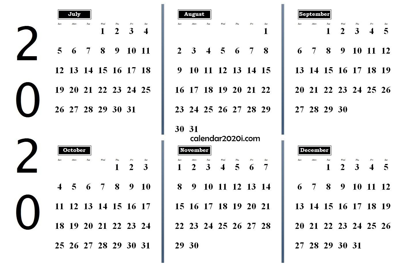 6 Months 2020 Half Year Printable Calendar   Calendar 2020 Perky 6 M Onth Calendar On One Page
