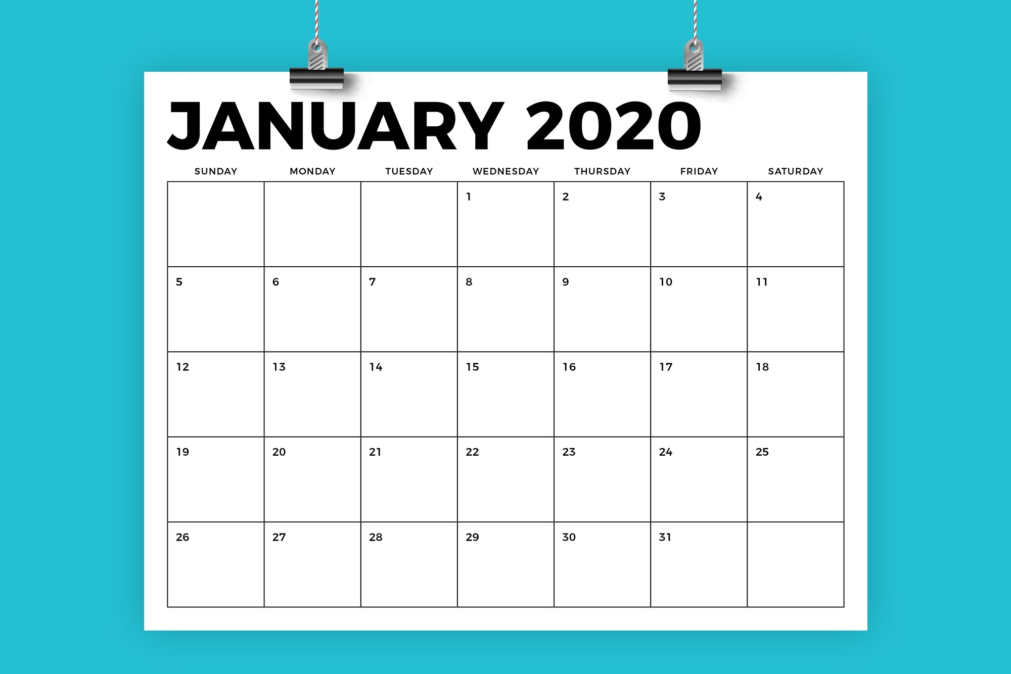 8.5 X 11 Inch Bold 2020 Calendar 8.5 X 11 Calendar Print