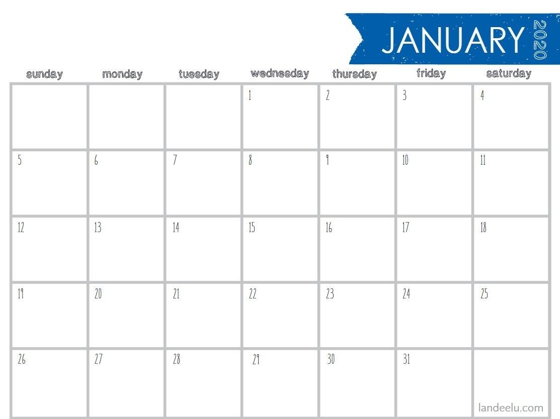 8 Stylish Free, Printable Calendars For 2020 Perky 5 X 7 Blank Printable Calendar