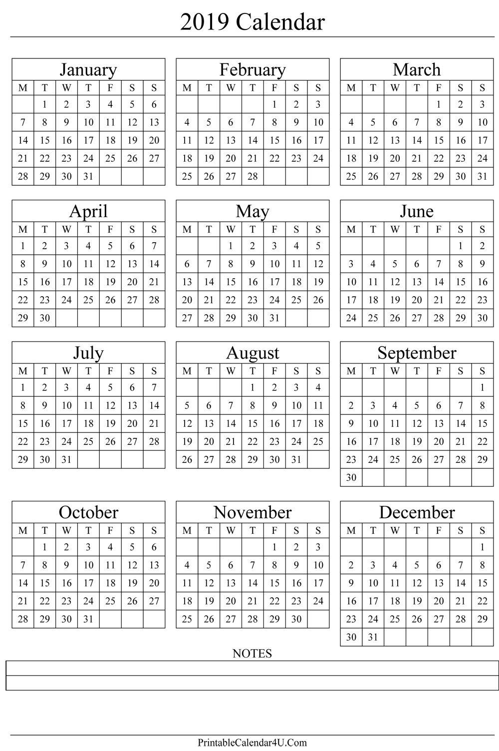 Annual Calendar 2019 Portrait Printable Calendar 2017 | Free 5 X 7 Blank Printable Calendar