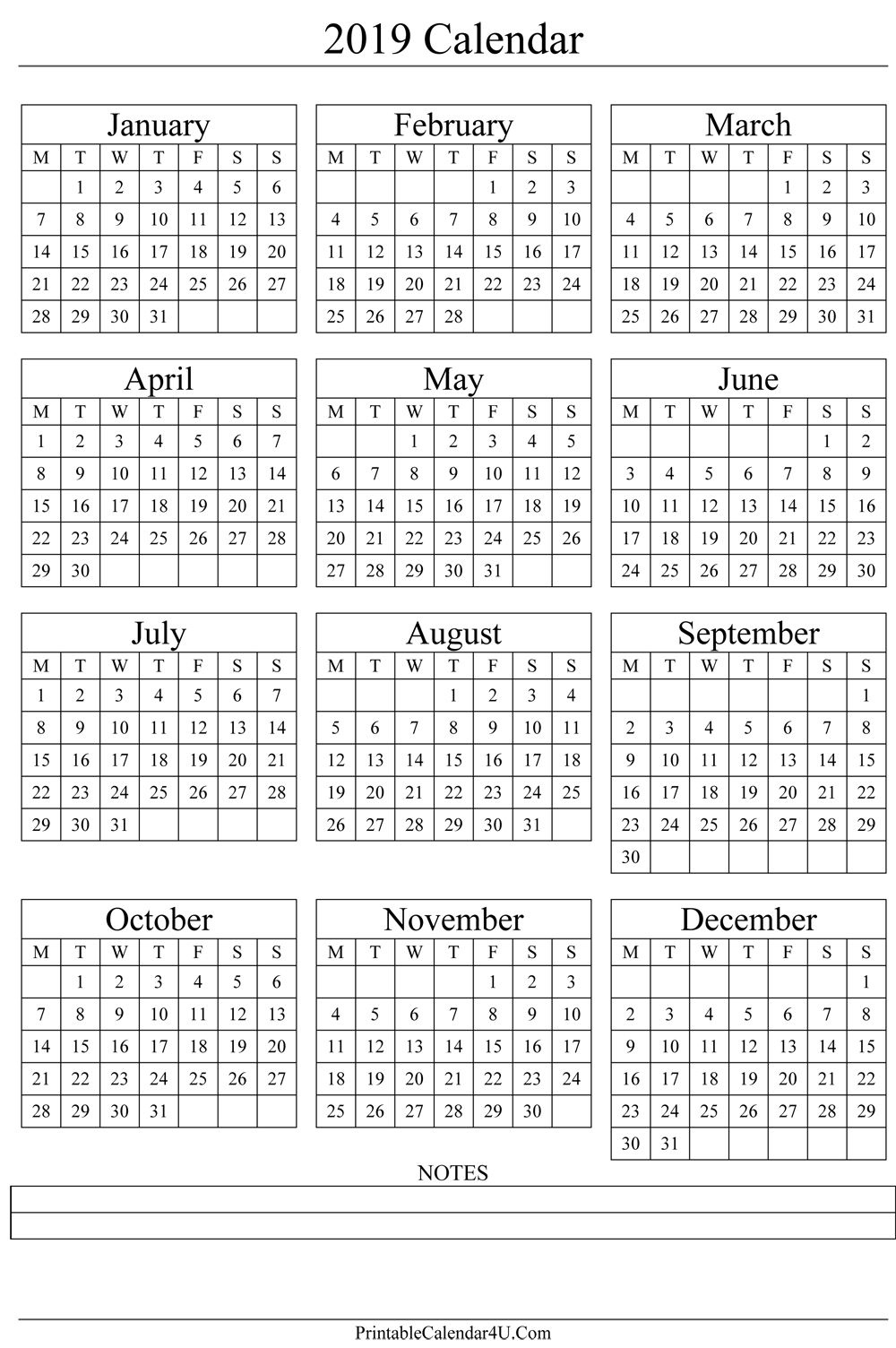 Annual Calendar 2019 Portrait Printable Calendar 2017 | Free Impressive Calendar Template That Can Be Wrote On