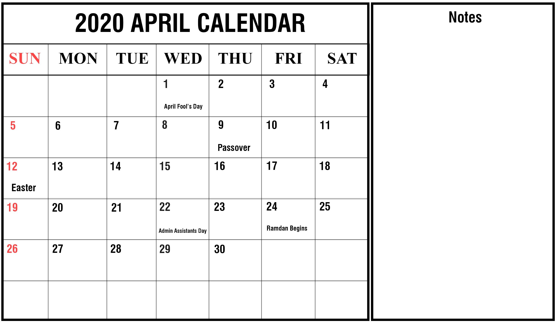 April 2020 Calendar With Holidays   Free Printable Calendar Incredible 2020 Printable Calendars Including Holidays And Jewish Holidays