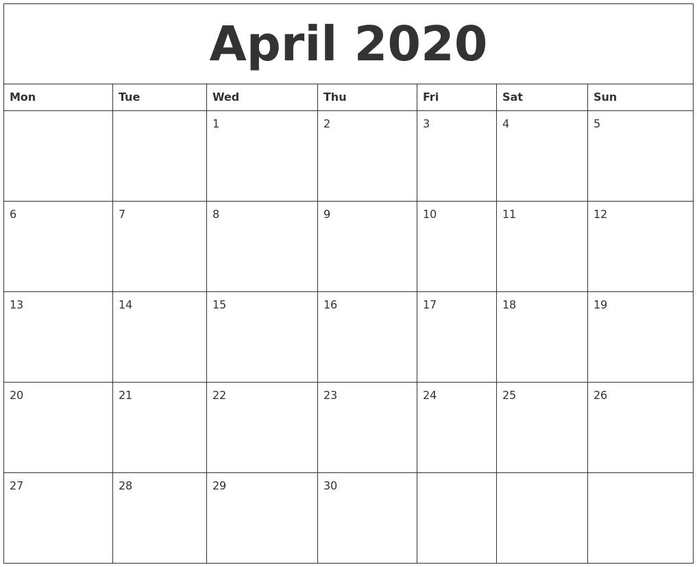 April 2020 Free Printable Monthly Calendar Exceptional Free Monthly Calendars Starting On Monday