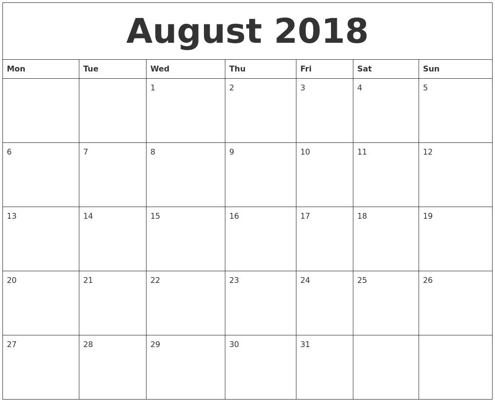 August 2018 Calendar Monday Start, August 2018 Calendar Word Calender To Print With Monday Start Date
