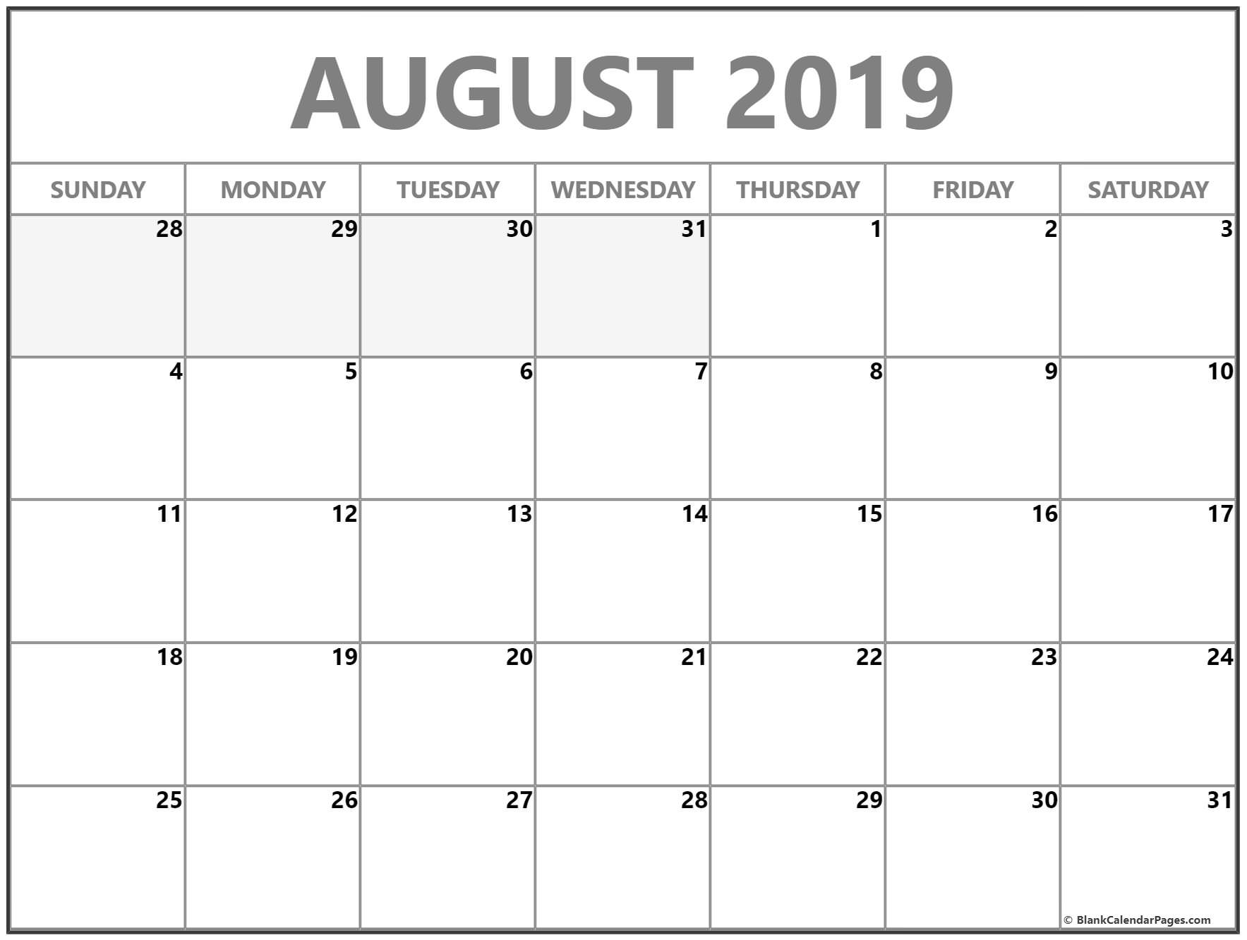 August 2019 Calendar | Free Printable Monthly Calendars Remarkable Free Printable Calendars Without Weekends