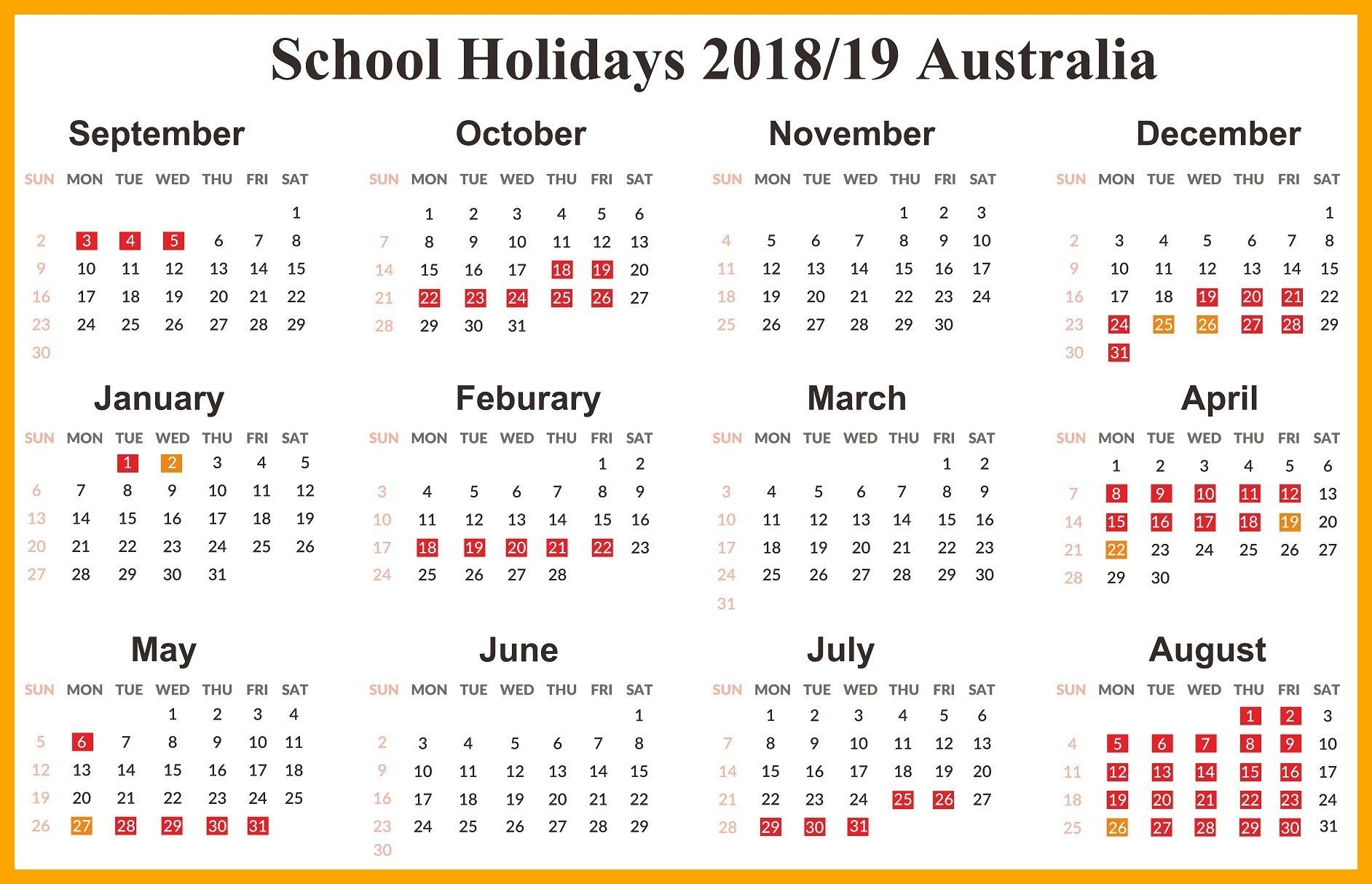 Australia 2019 School Holidays Calendar | School Holiday Printable Monthly Calendar 2020 Australia With School Holidays