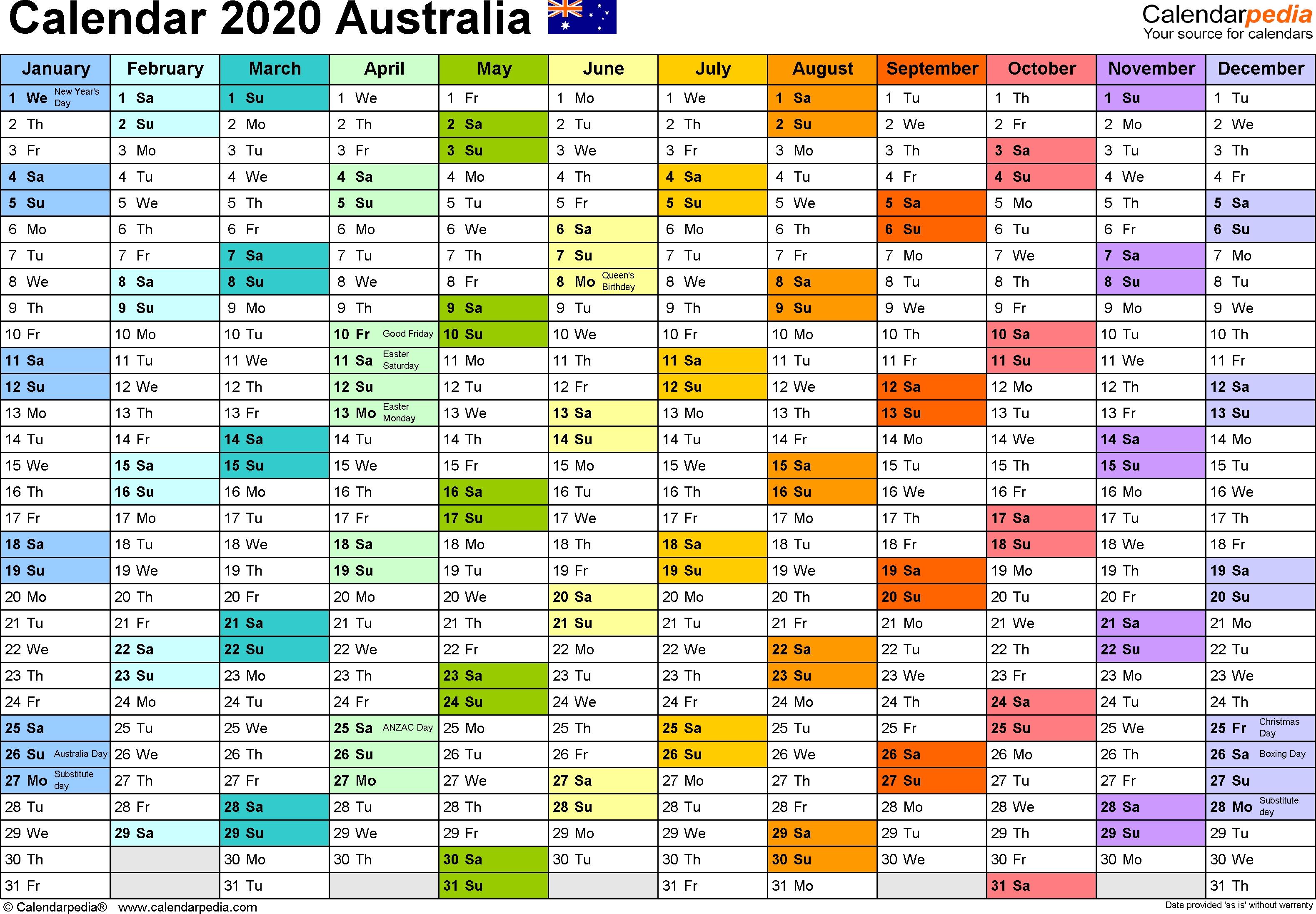 Australia Calendar 2020 - Free Printable Pdf Templates Printable Monthly Calendar 2020 Australia With School Holidays