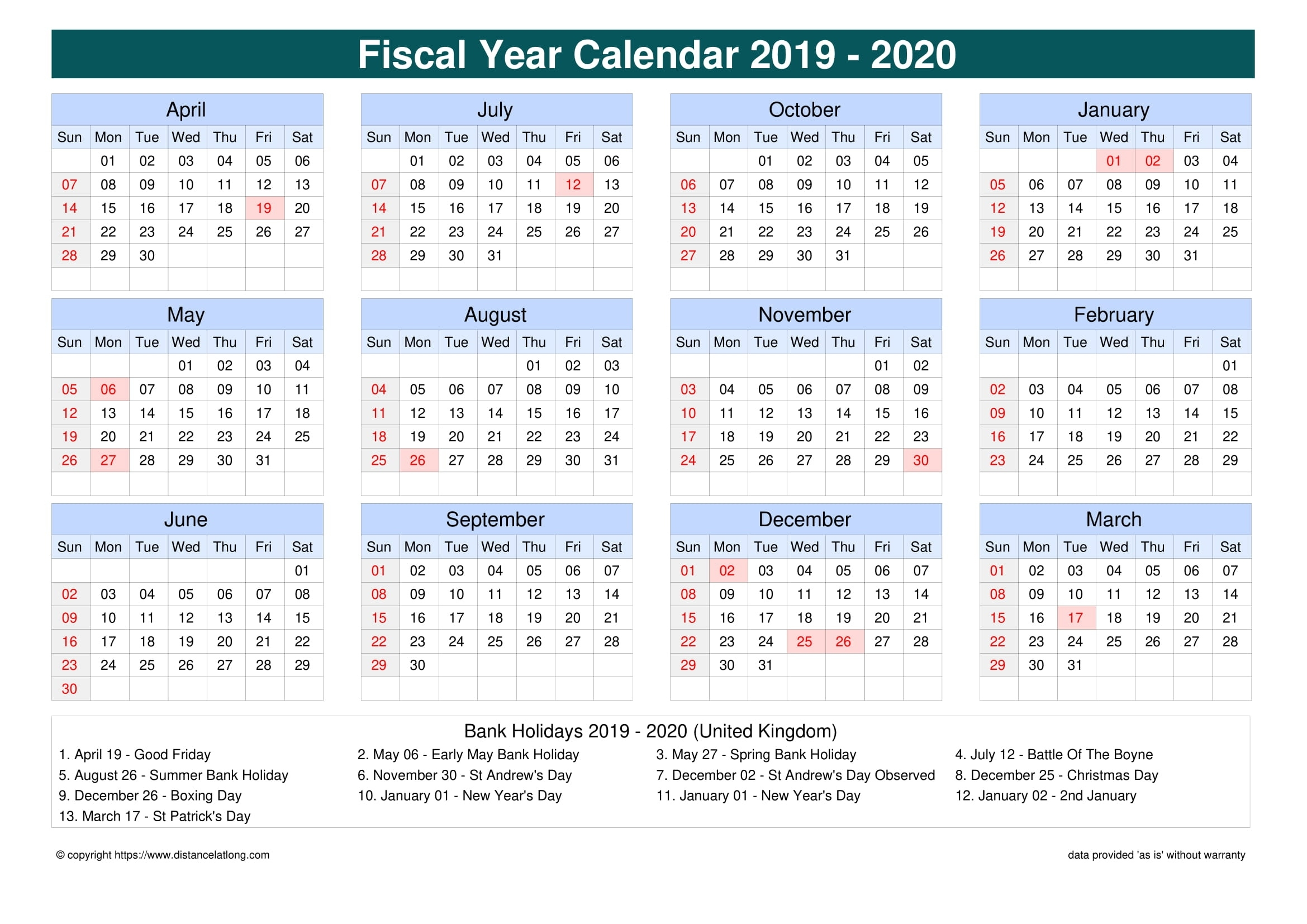 Bank Holiday Uk 2020 - United Kingdom Fiscal Year 2019-2020 Extraordinary 2020 Calendar With Bank Holidays Uk