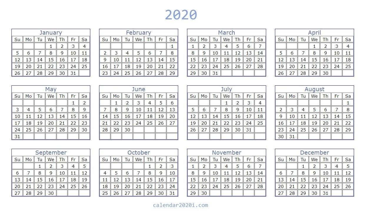 Blank 2020 Calendar Printable Templates | Calendar 2020 Remarkable 2020 Blank Printable Monthly Template
