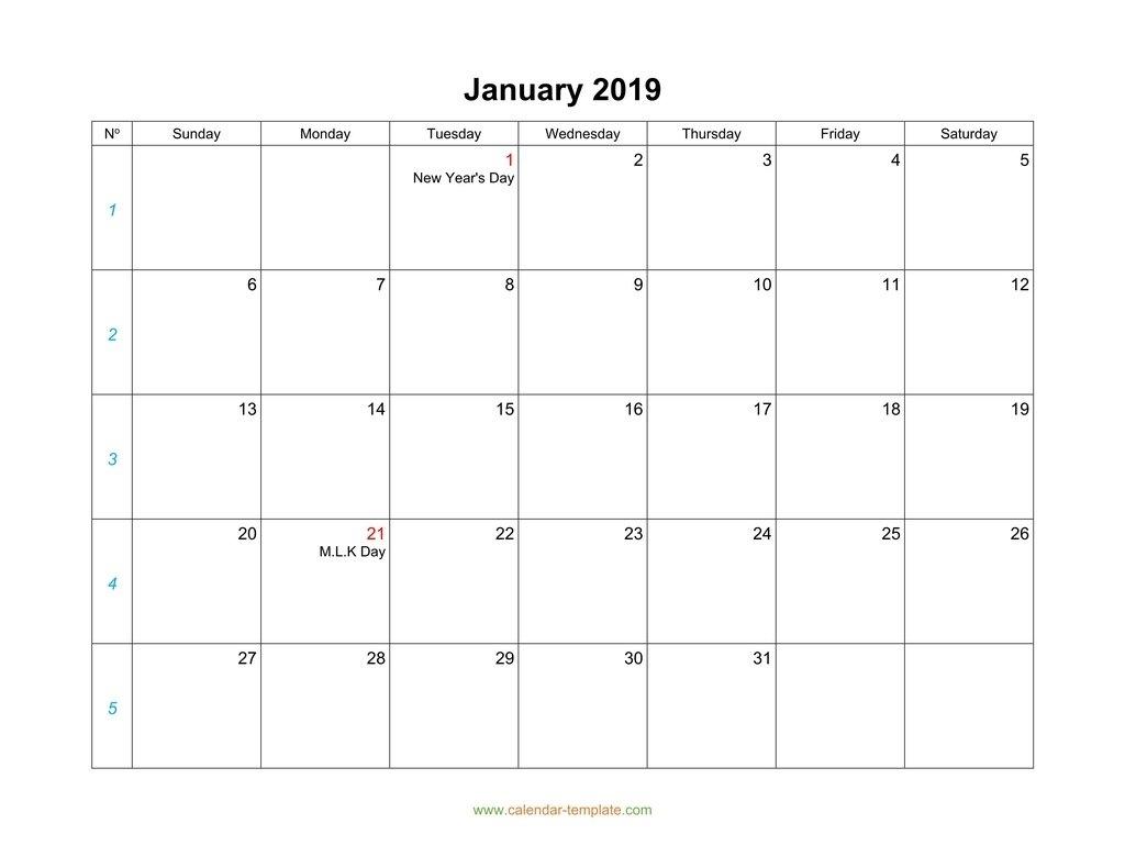 Blank Calendar 2019 Remarkable Free Printable Monthly Calendars Monday Start