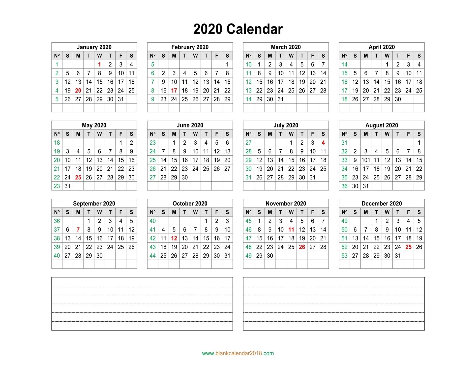 Blank Calendar 2020 2020 Calendar Numbered Weeks