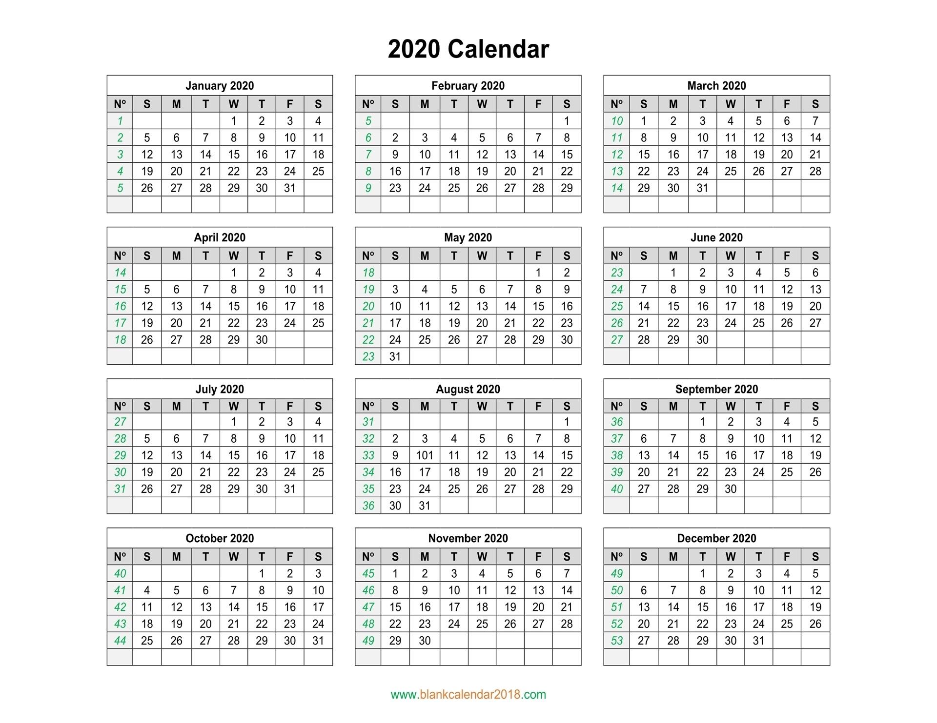 Blank Calendar 2020 2020 Yearly Calendar Printable