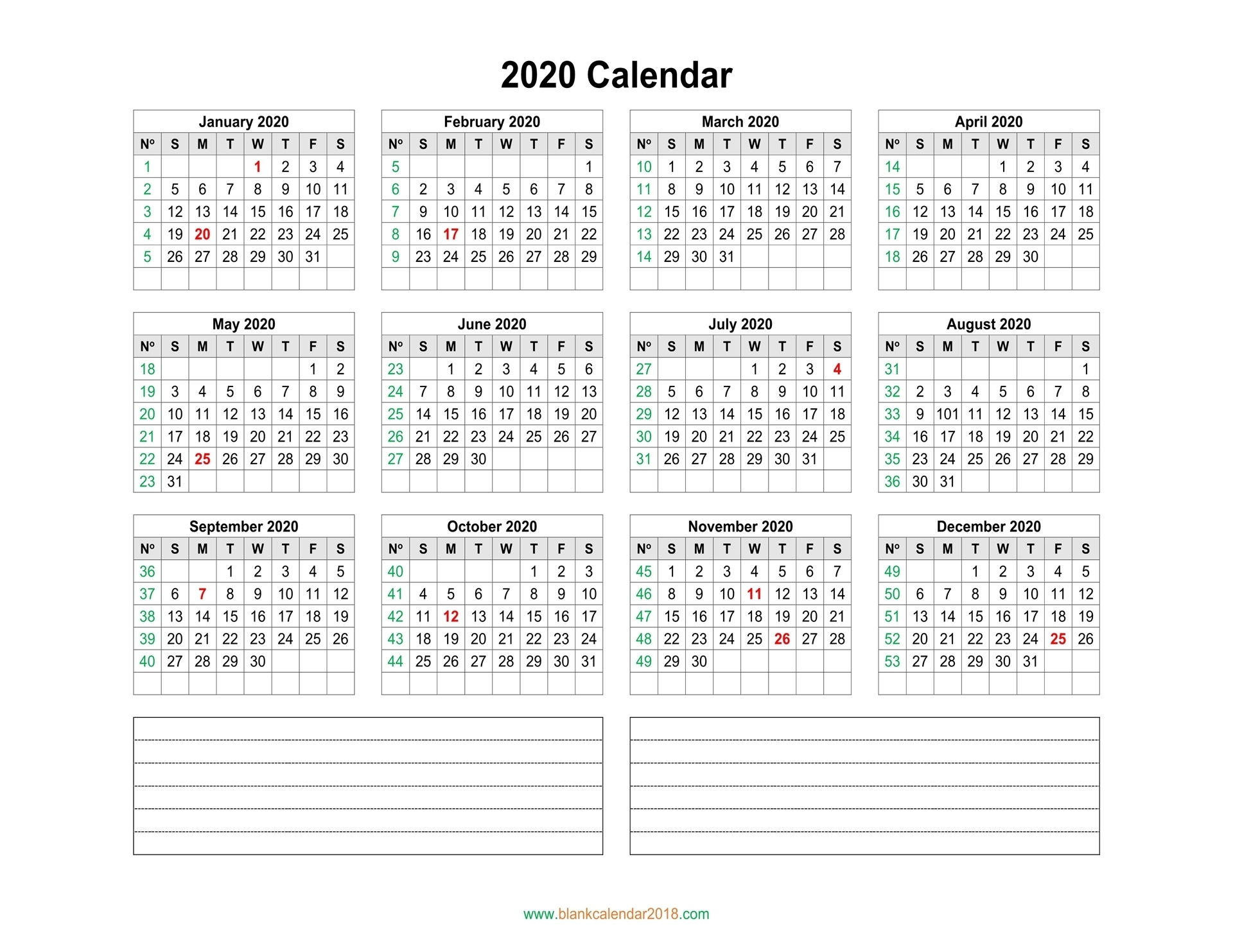Blank Calendar 2020 Remarkable Printable Calendar With Numbered Days 2020
