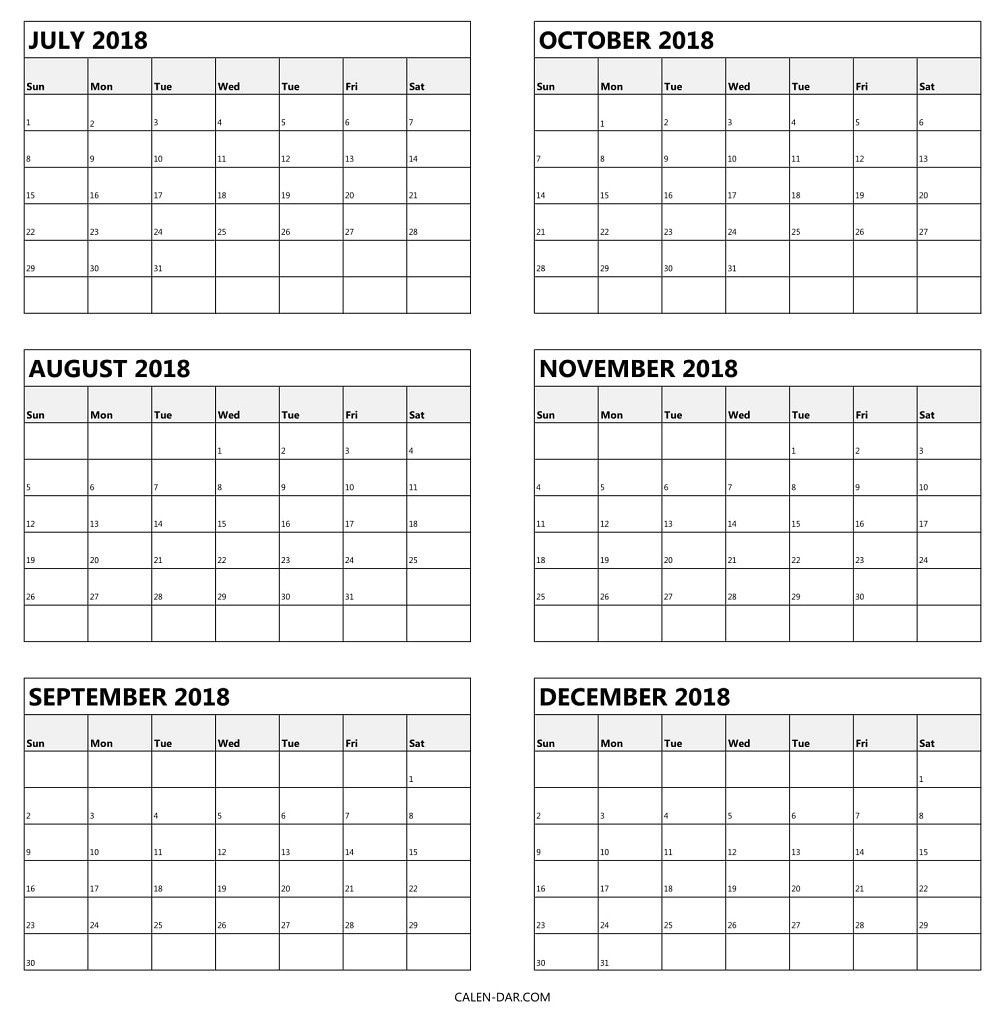 Blank Calendar 6 Months | One Page Calendar Printable Calenders With 6 Months Showing