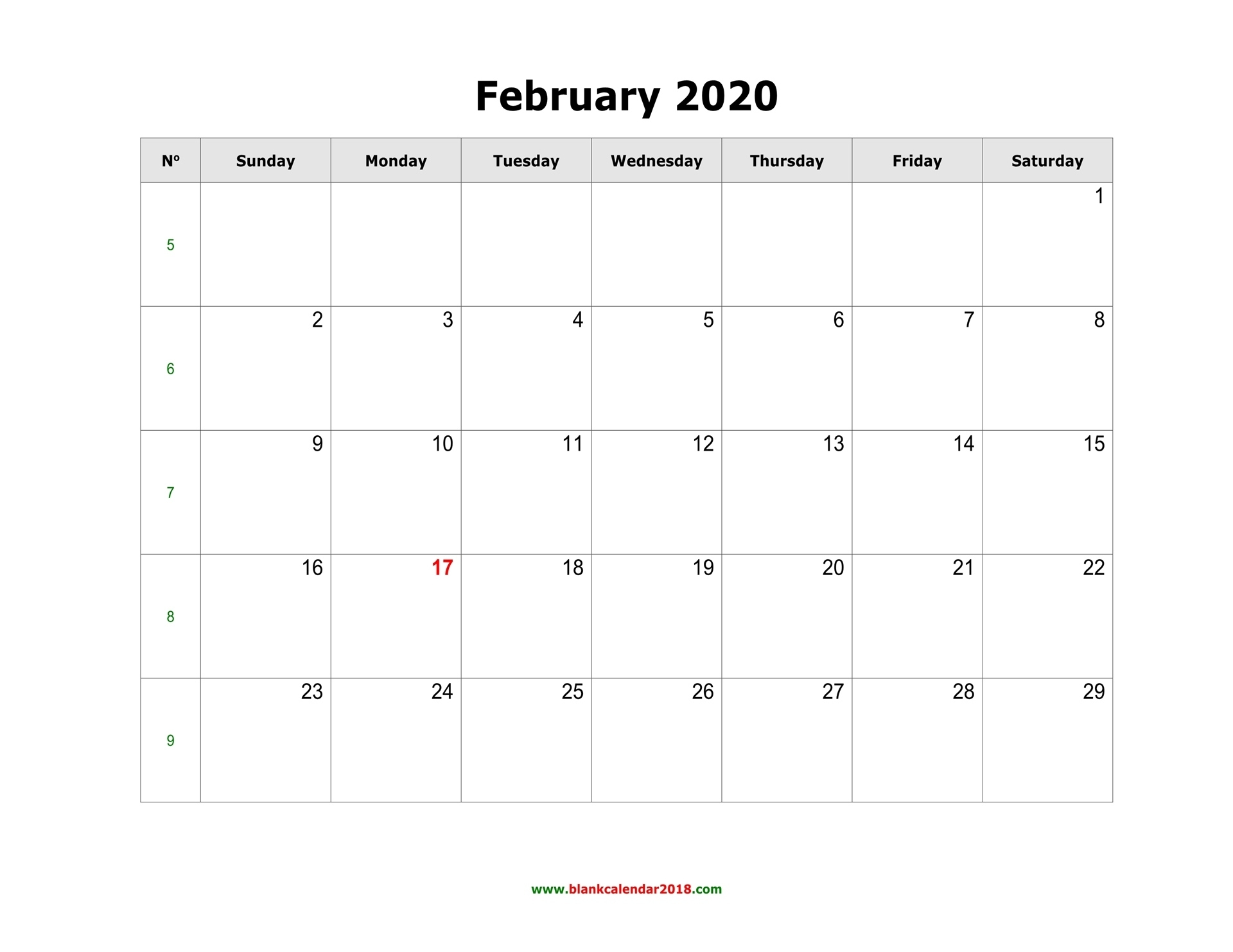 Blank Calendar For February 2020 Microsoft Word Printable Calendar 2020