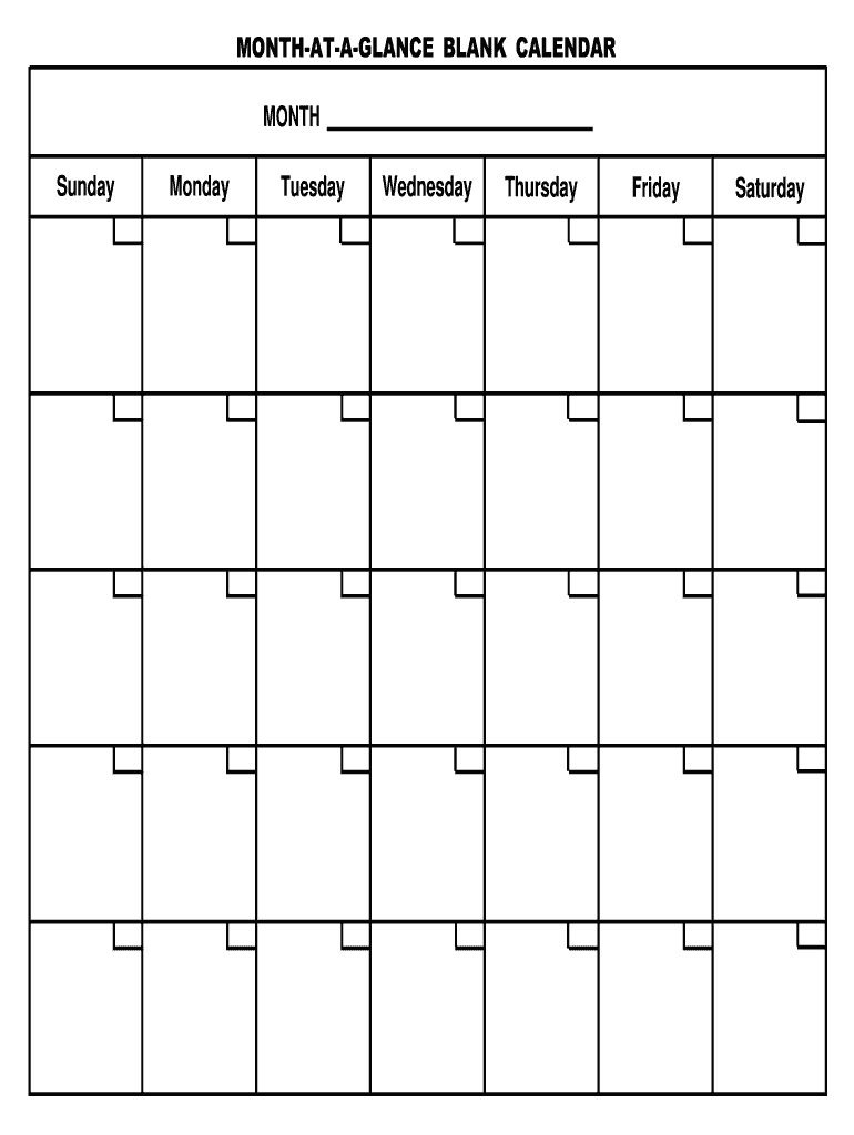 Blank Month Template - Fill Online, Printable, Fillable Exceptional Month At A Glance Blank Template