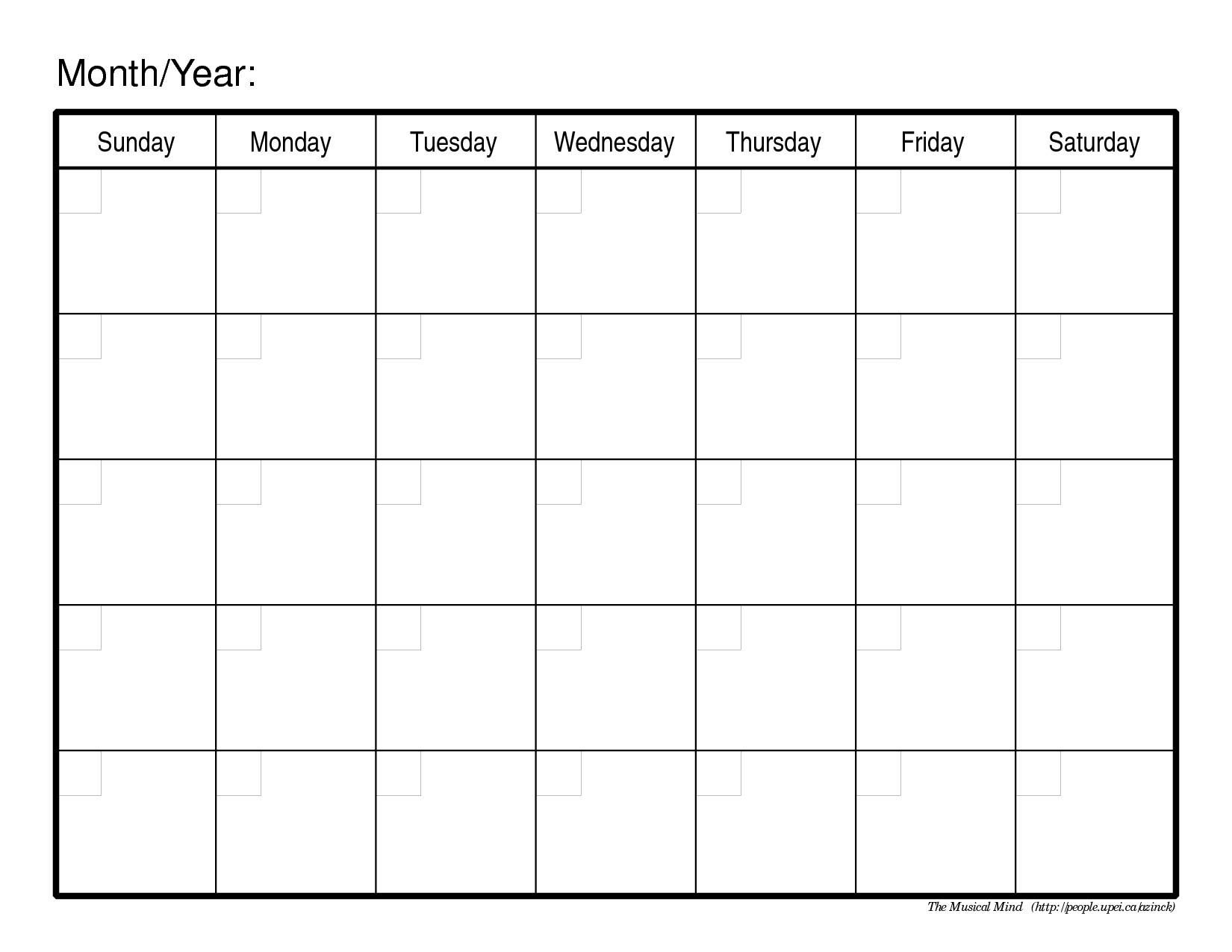 Blank Monthly Calendar Page - Colona.rsd7 Printable Binder Monthly Calender Blank
