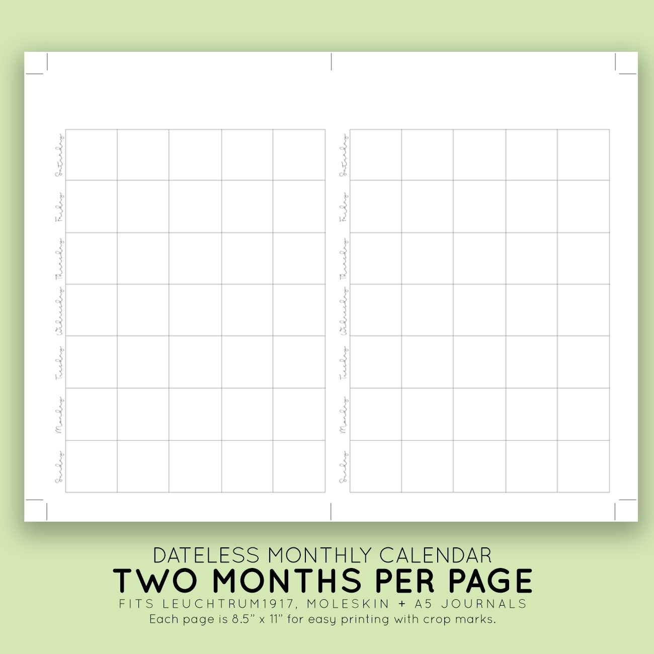 Blank Monthly Printable Calendar-Printable 5.5 X 8.5 Monthly 5.5 X 8.5 Calendar Printable
