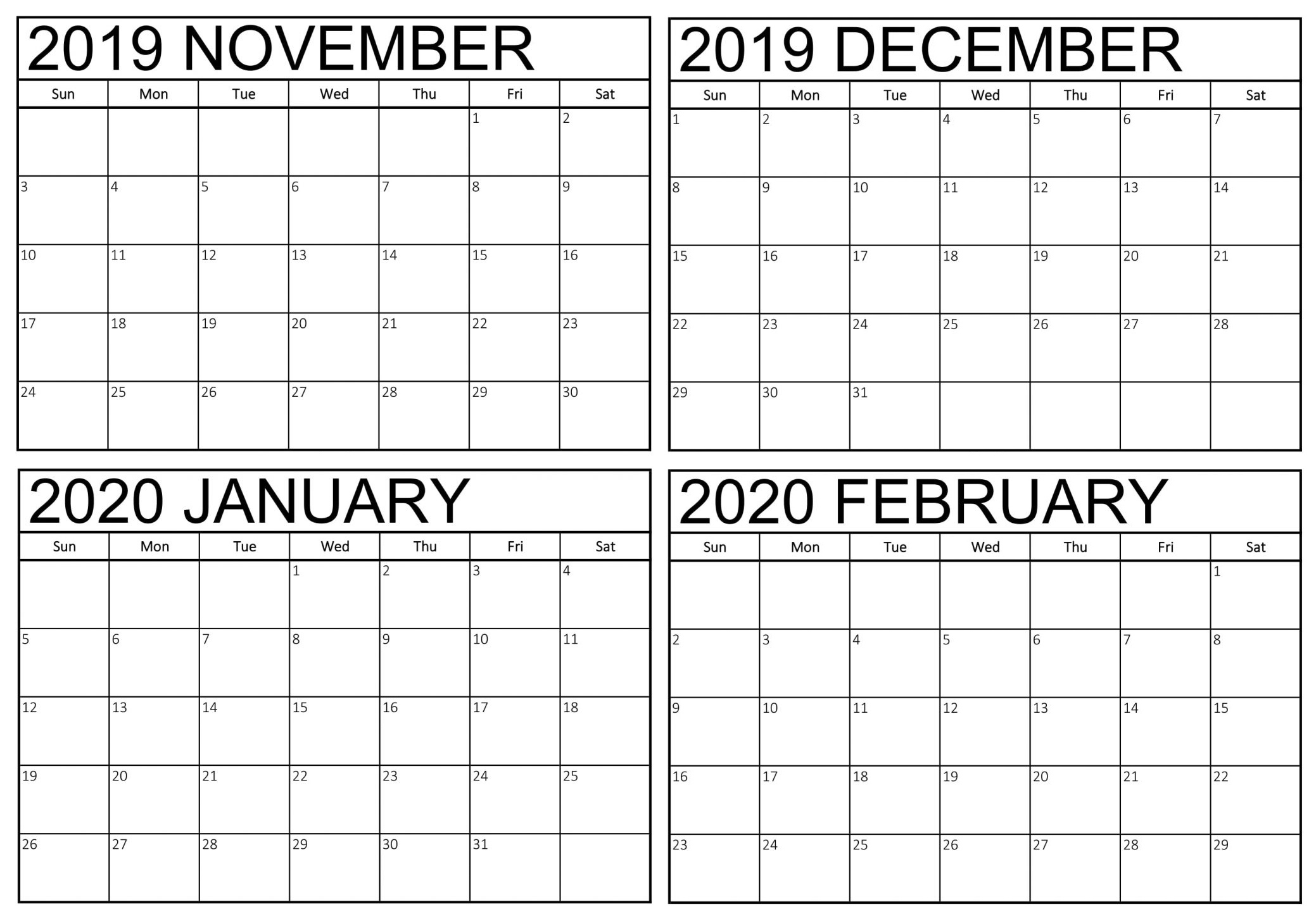 Blank November 2019 To February 2020 Calendar - 2019 Exceptional Blank Calendar 2020 Four Months To Page