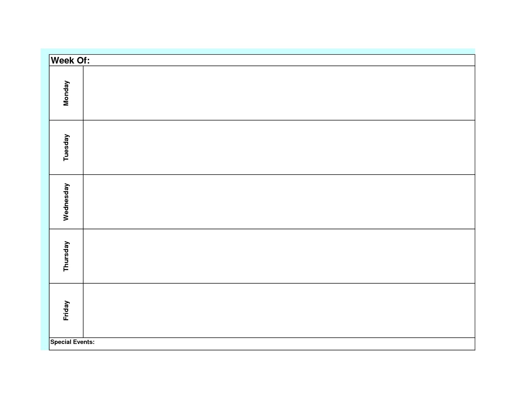 Blank Weekly Calendar Template Monday Friday   Weekly Blank Monday Through Friday Schedule Word