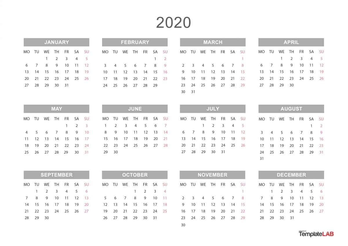 Blank Yearly Calendar 2020 - Colona.rsd7 Perky Year Calendar 2020 Printable