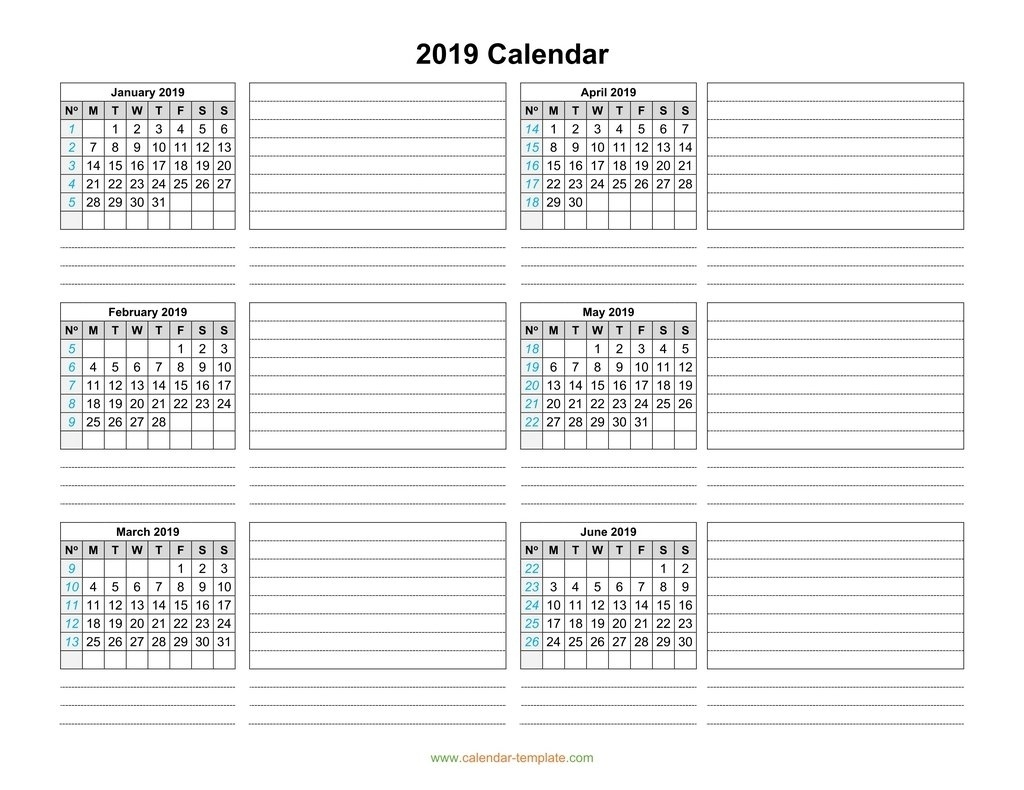 Calendar 2019 Template Six Months Per Page Calenders With 6 Months Showing