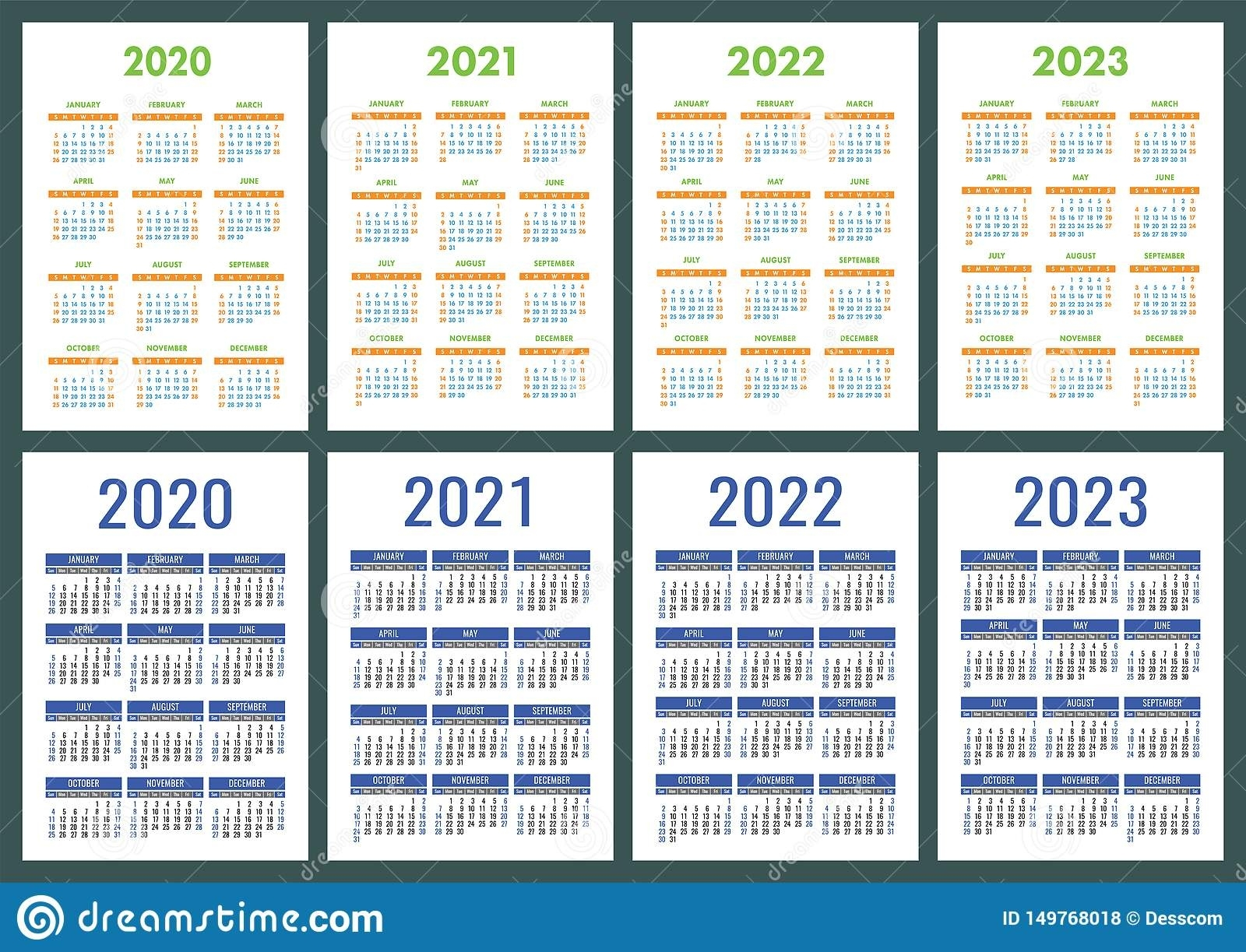Calendar 2020, 2021, 2022 And 2023. English Color Vector Set Big Printable Calendars 2020 2021 2022