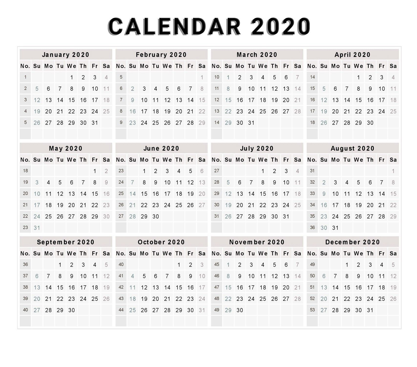 Calendar 2020 Free Printable Calendar 2020 Free 2020 2020 Calendar One Page