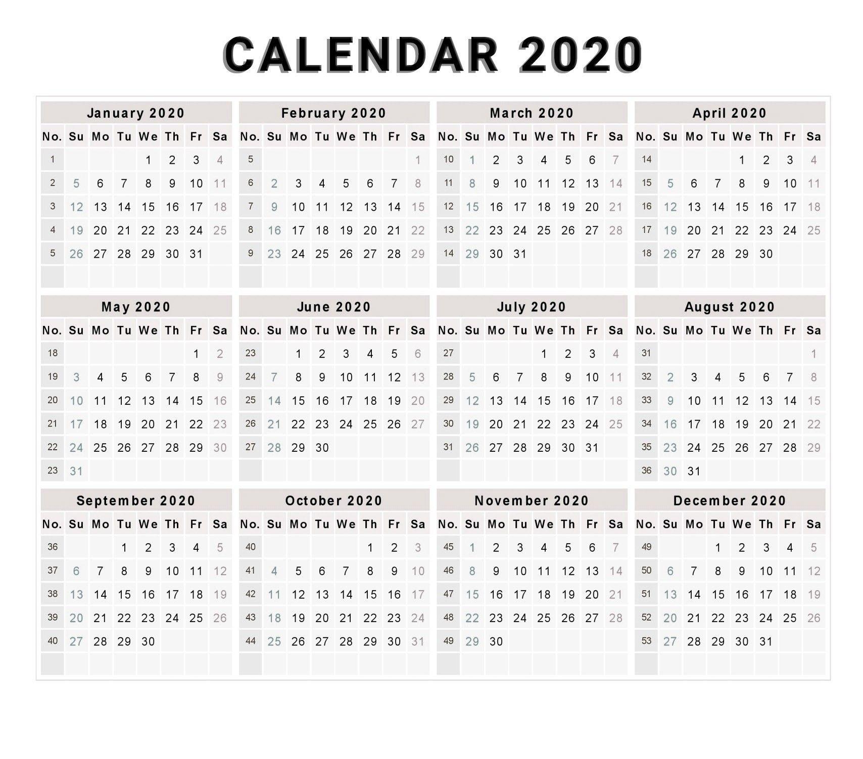 Calendar 2020 Free Printable Calendar 2020 Free 2020 Extraordinary Calendar Template 2020 Printable Free Black And White