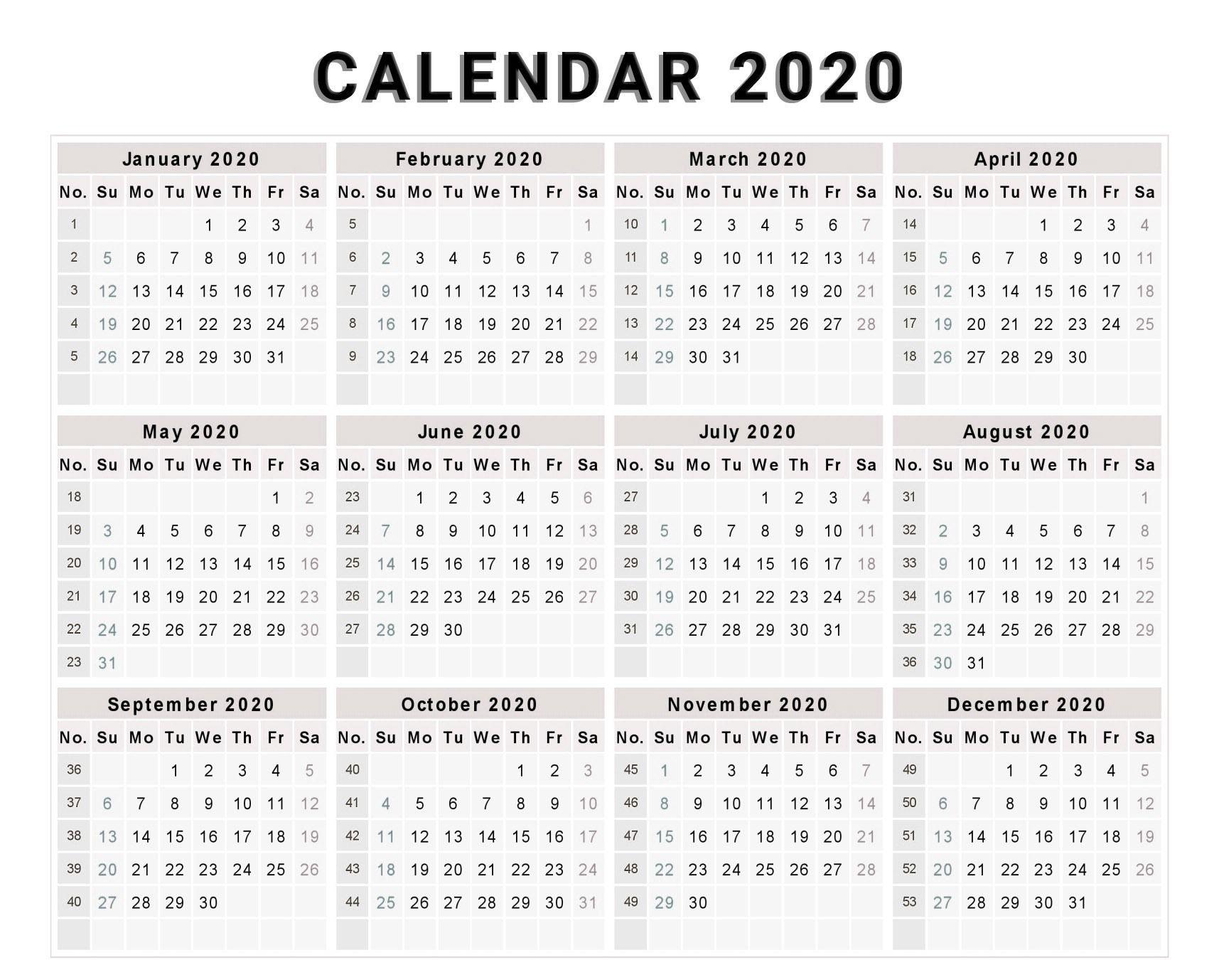 Calendar 2020 Free Template With Weeks | Free Calendar Dashing 2020 Calendar Numbered Weeks