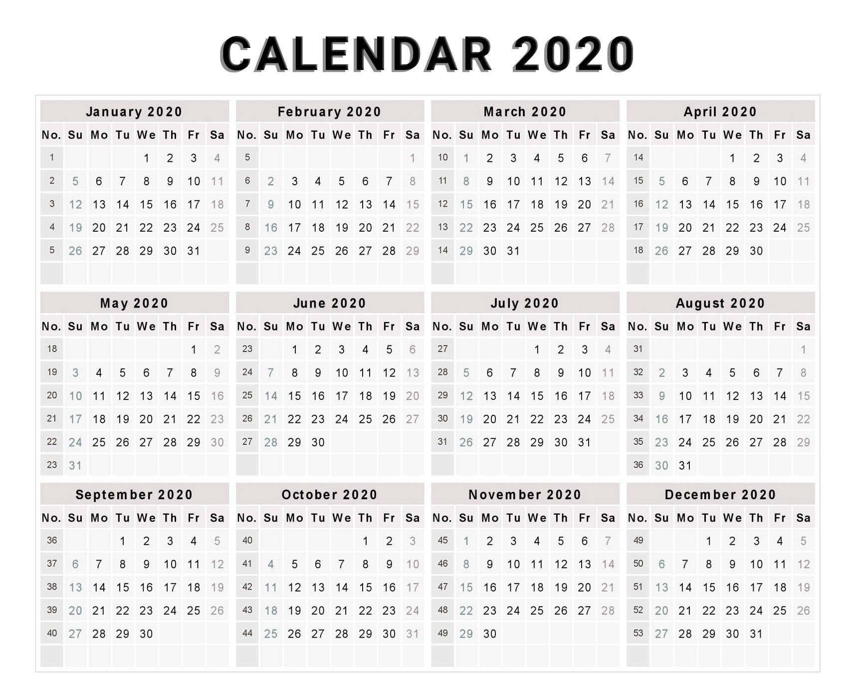 Calendar 2020 Free Template With Weeks | Free Calendar Remarkable Printable Calendar With Numbered Days 2020
