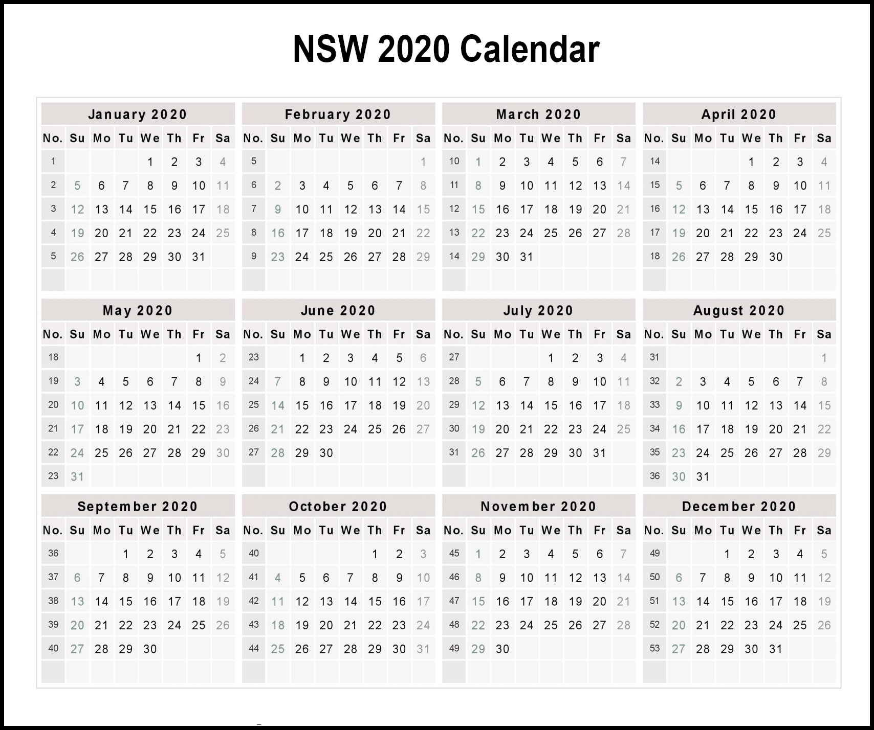 Calendar-2020-Free-Template-With-Weeks-Min | Printable Remarkable Nsw Calendar 2020 Free Printable