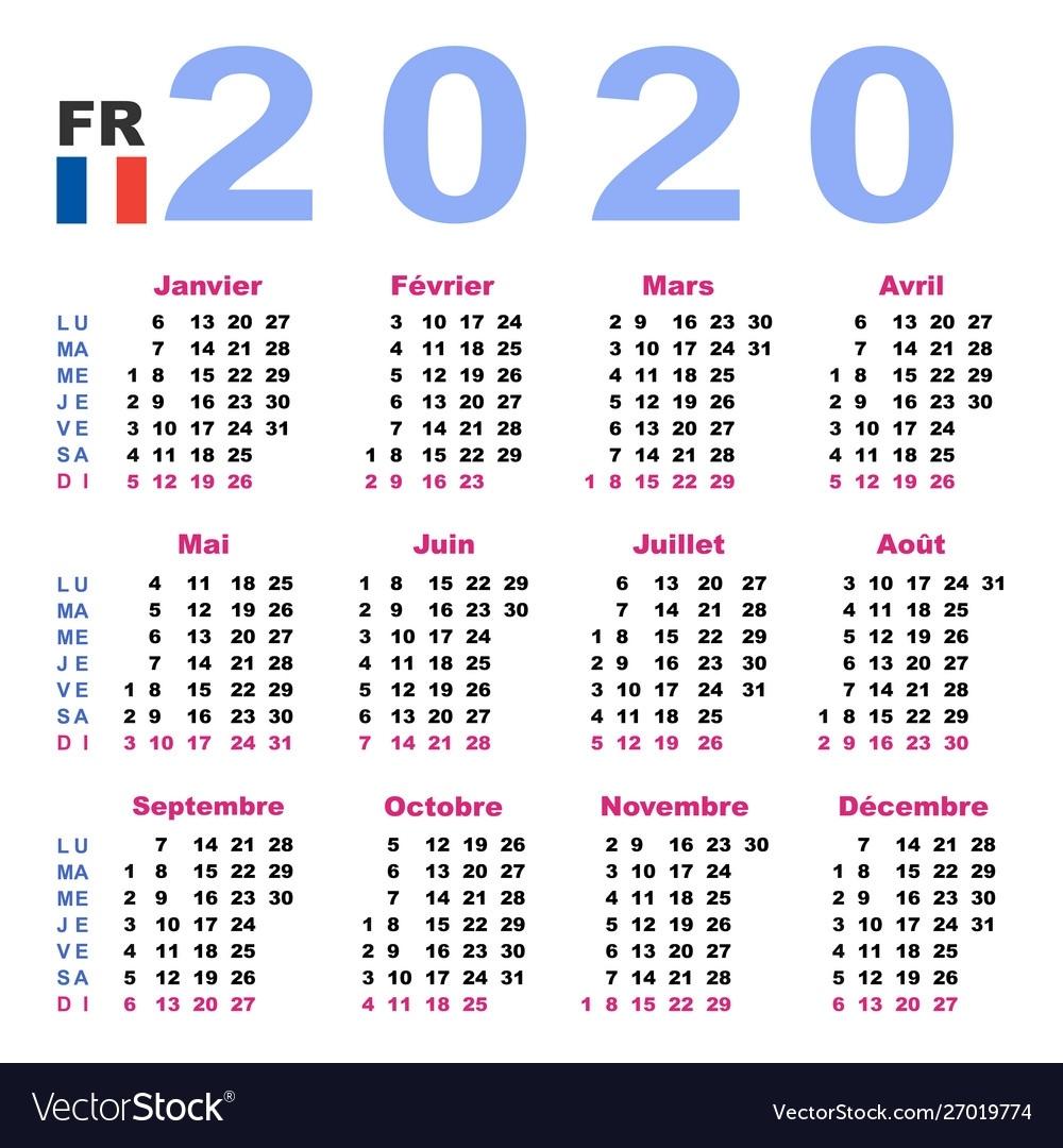 Calendar 2020 In French Horizontal Week Starts 2020 Calendar Numbered Weeks