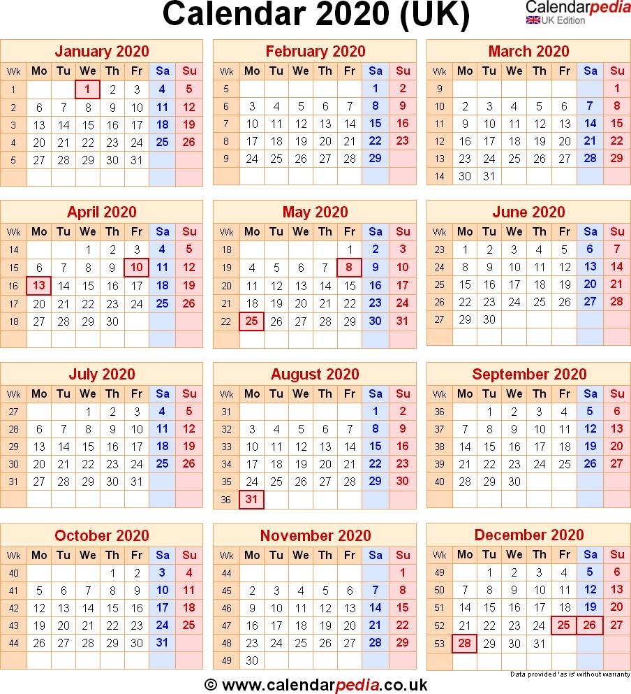 Calendar 2020 Uk With Bank Holidays & Excel/pdf/word Templates 2020 Calendar Uk Printable A4