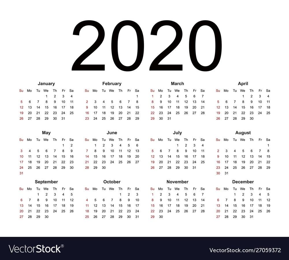 Calendar 2020 Week Starts From Sunday Business Dashing 2020 Calendar Numbered Weeks