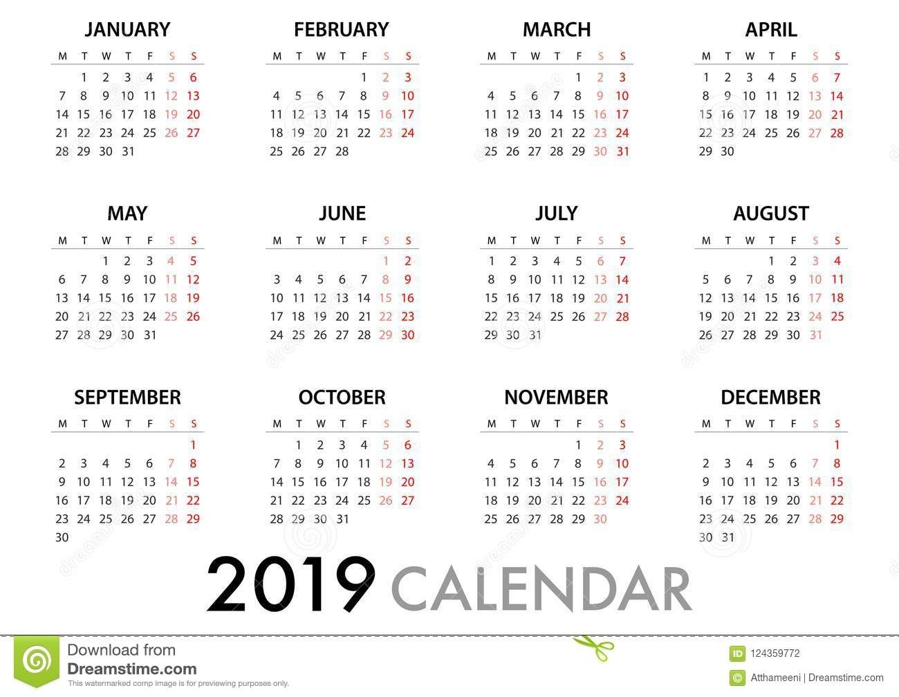 Calendar For 2019 Week Starts Monday. Simple Vector Template Calender To Print With Monday Start Date