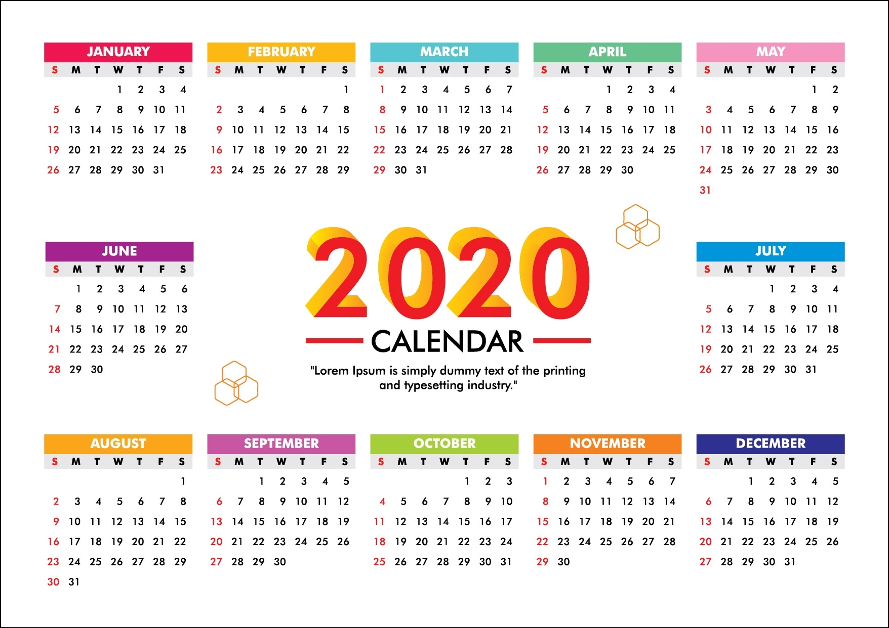 Calendar For 2020 Week Starts Sunday- Free Vector - Graphics Pic 2020 Calendar Free Vector