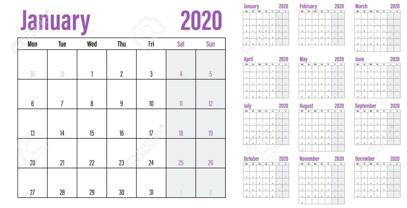 Calendar Planner 2020 Template Vector Illustration All 12 Months.. Remarkable Free Printable Calendars Without Weekends