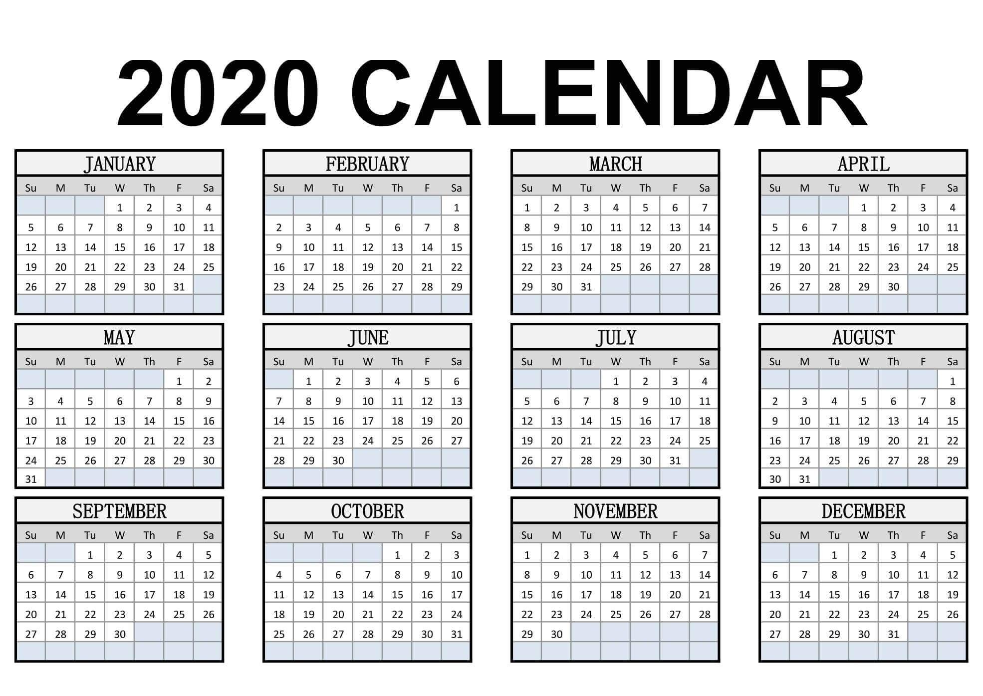 Calendar Year 2020 Holidays Template - 2019 Calendars For 2020 Yearly Calendar Printable