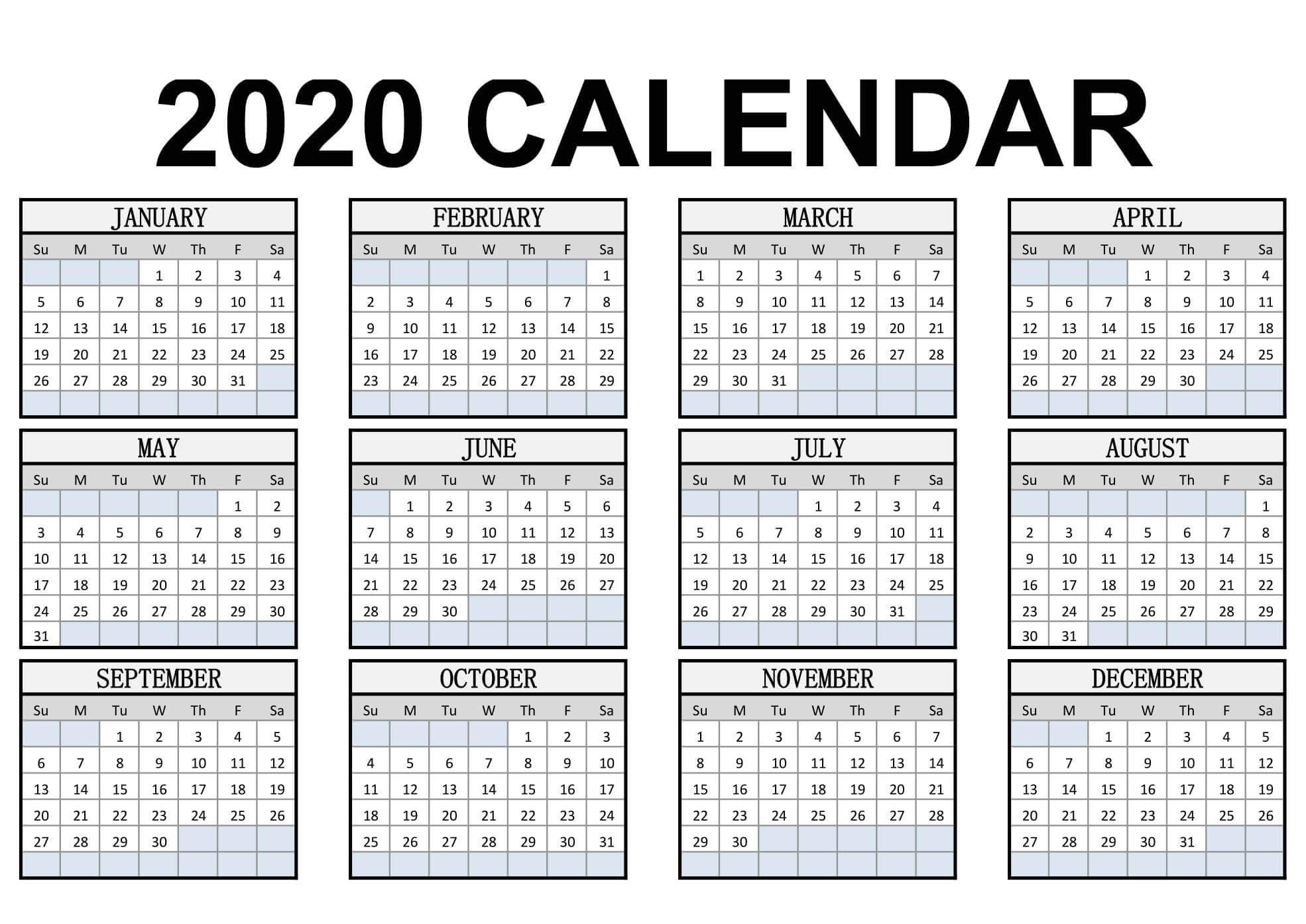 Calendar Year 2020 Holidays Template - 2019 Calendars For Perky Year Calendar 2020 Printable