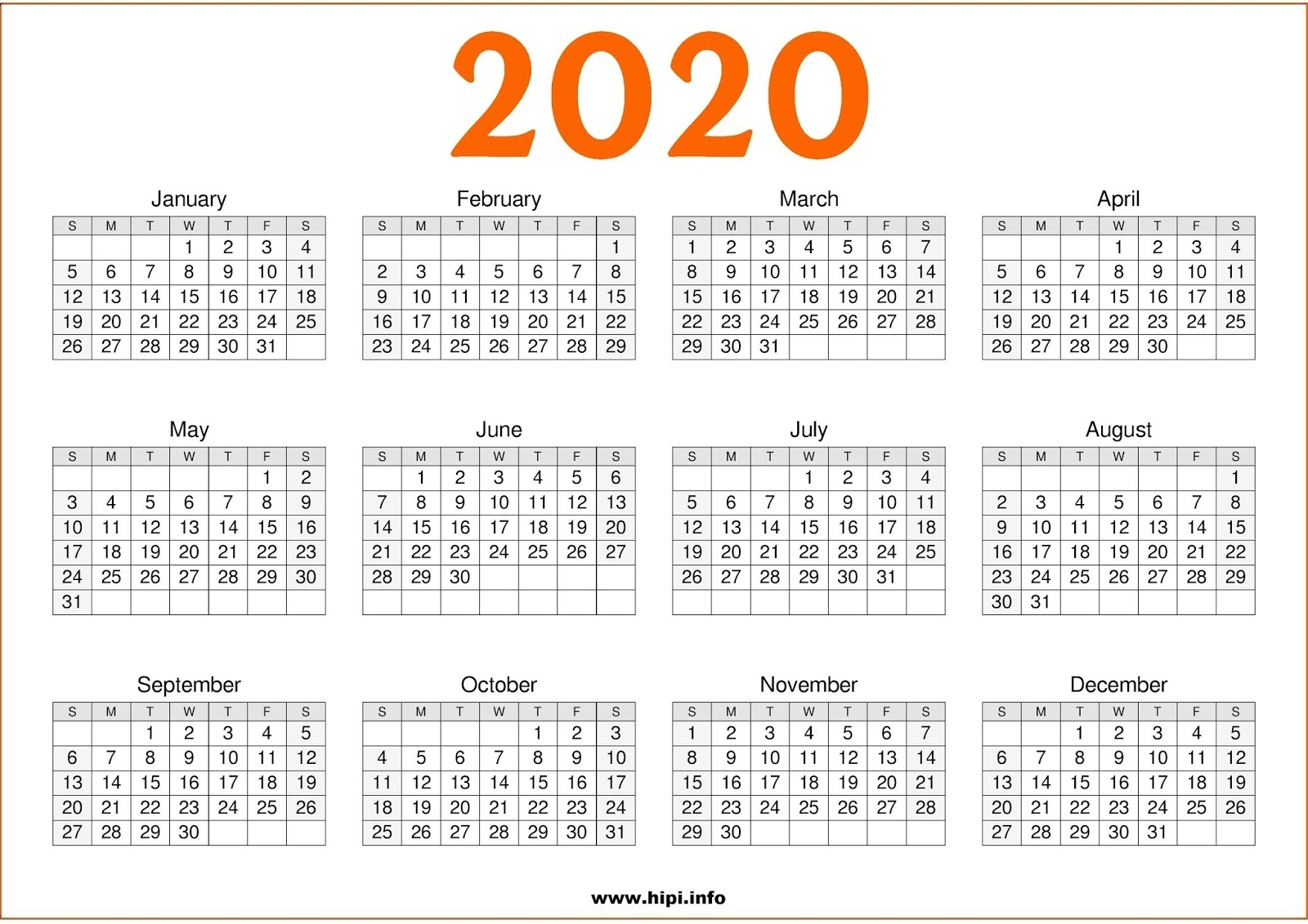 Calendars Printable / Twitter Headers / Facebook Covers Exceptional 2020 Calendar One Page